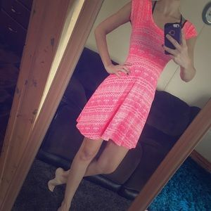 Patterned Pink and White Dress